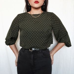 Olive Green & White Polka Dot Cropped Blouse